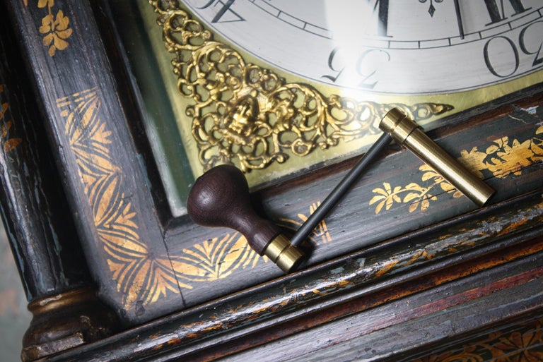 George II Thomas Haley Green Chinoiserie Long Case Clock, circa 1740 For Sale 10