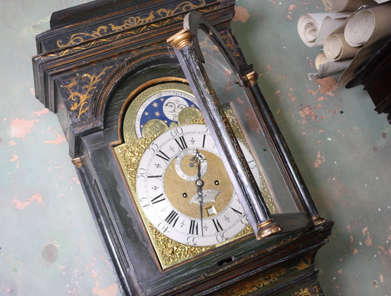 George II Thomas Haley Green Chinoiserie Long Case Clock, circa 1740 For Sale 11