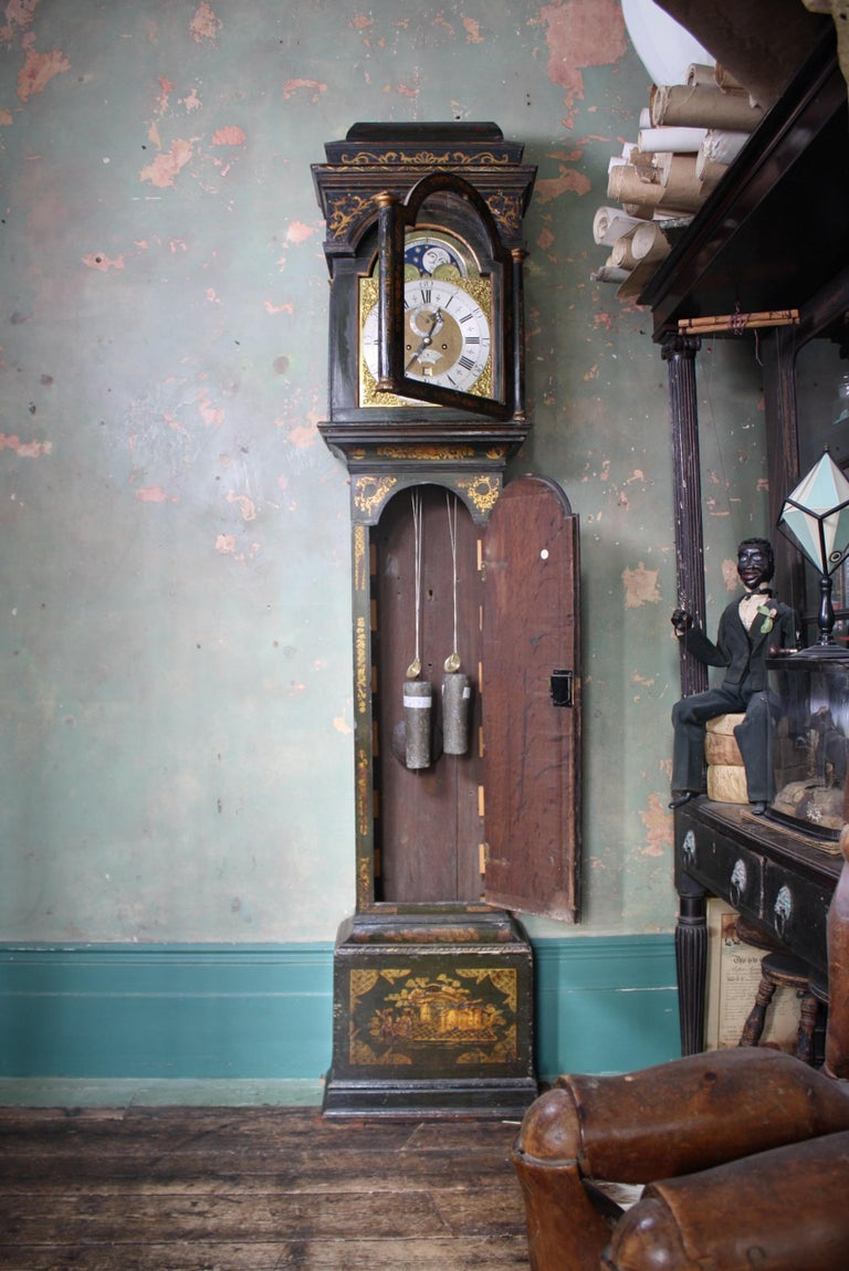 George II Thomas Haley Green Chinoiserie Long Case Clock, circa 1740 For Sale 12