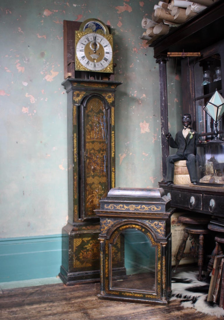 George II Thomas Haley Green Chinoiserie Long Case Clock, circa 1740 For Sale 13