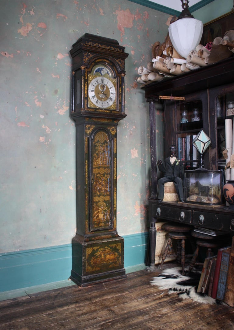 George II Thomas Haley Green Chinoiserie Long Case Clock, circa 1740 In Good Condition For Sale In Lowestoft, GB