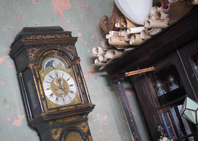 Mid-18th Century George II Thomas Haley Green Chinoiserie Long Case Clock, circa 1740 For Sale