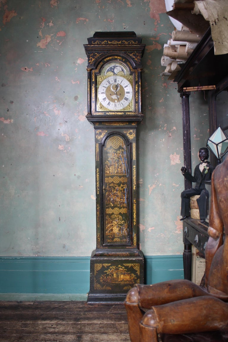 Brass George II Thomas Haley Green Chinoiserie Long Case Clock, circa 1740 For Sale