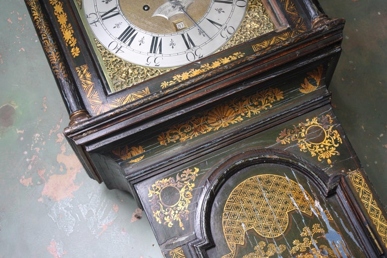 George II Thomas Haley Green Chinoiserie Long Case Clock, circa 1740 For Sale 2