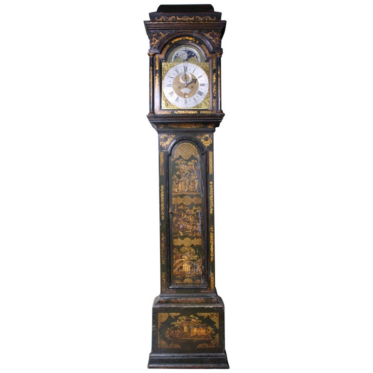 George II Thomas Haley Green Chinoiserie Long Case Clock, circa 1740 For Sale