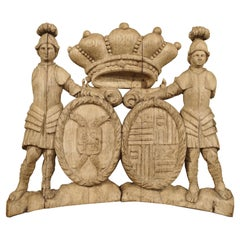 Circa 1750 French Oak Coat of Arms Carving