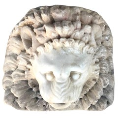 Late Renaissance Lion Marble Mask, circa 17th Century