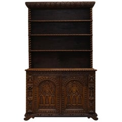 Carved Oak & Elm Bookcase in the Jacobean Style Barley Twist Detail, circa 1800
