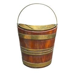 Circa 1800 English George III Oak & Brass Bound Peat Navette Form Bucket