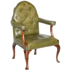 Gothic Revival Georgian Irish Chesterfield Leather Carver Armchair, circa 1800