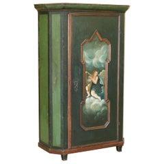 Circa 1800 Hand Painted Green Swedish Hall or Pot Cupboard Wardrobe Musical Deco