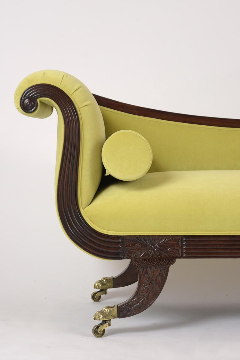 European Empire Style Flemish Mahogany Chaise Lounge, circa 1800s For Sale