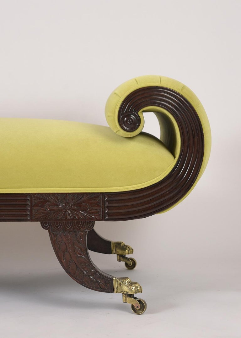 Hand-Carved Empire Style Flemish Mahogany Chaise Lounge, circa 1800s For Sale