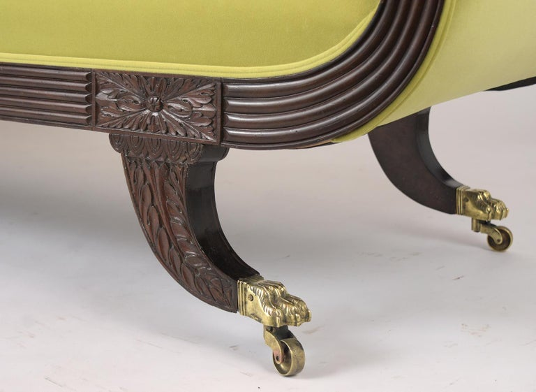 Early 19th Century Empire Style Flemish Mahogany Chaise Lounge, circa 1800s For Sale