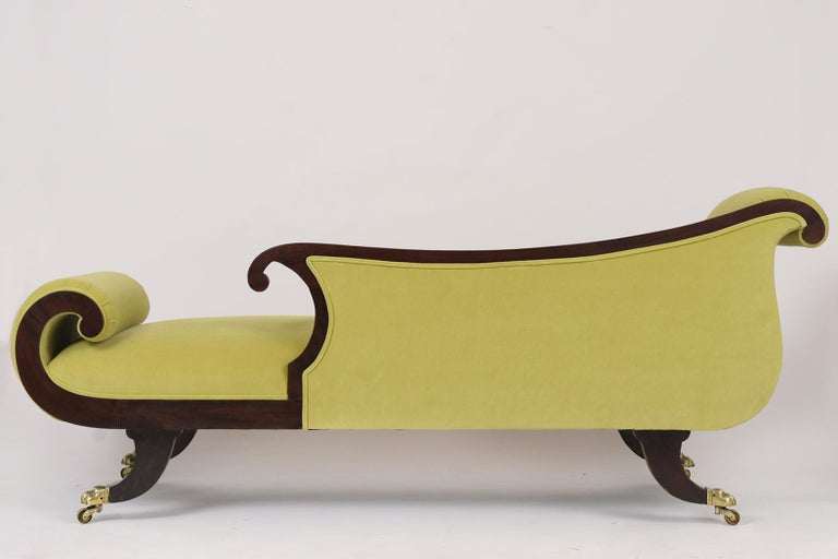 Brass Empire Style Flemish Mahogany Chaise Lounge, circa 1800s For Sale