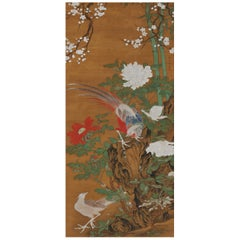 Japanese Flower and Bird Scroll Painting by Kano Tanshin Morimichi, circa 1815
