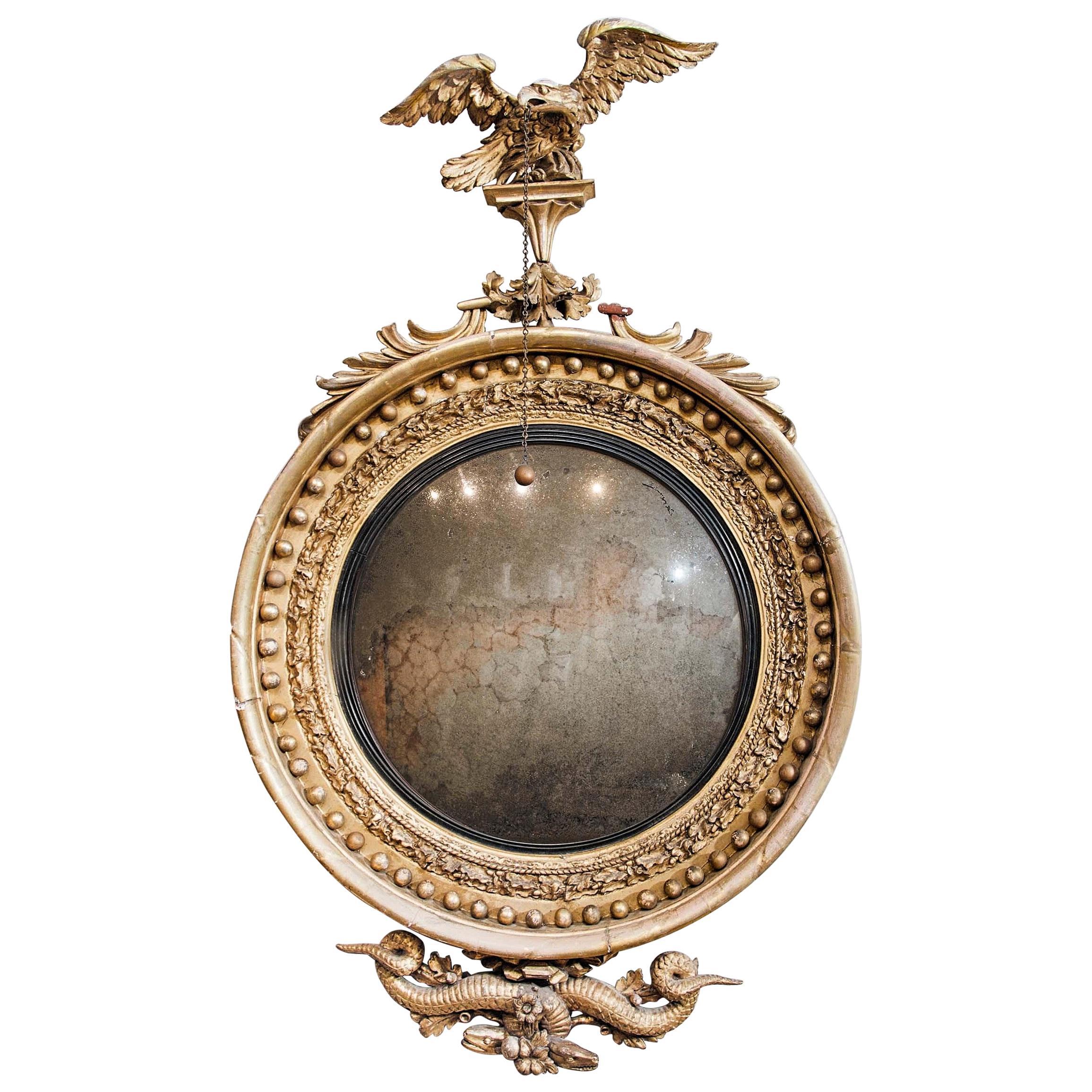 Monumental English Regency Giltwood Convex Mirror, circa 1820