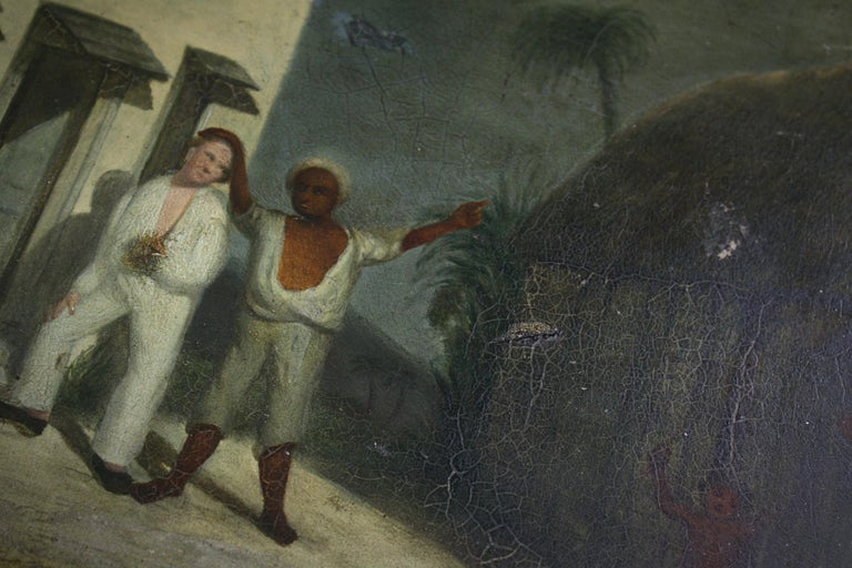 A unusual oil on board circa 1820 of a slave and his owner. The image depicts a middle age male, his wife and child in a outhouse. The board has a gesso skin upon that oil has been applied, overall cracking and some lose of paint (one elderly