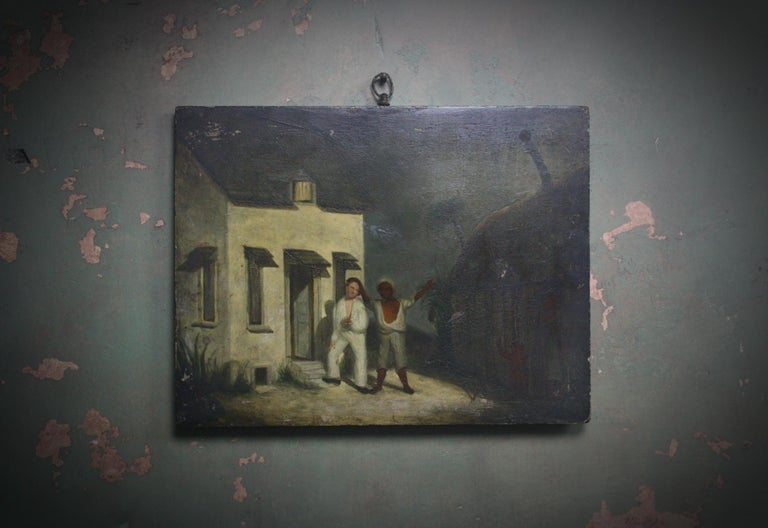 Painted Oil on Board of a Mauritius Slave & His Family Folk Art, circa 1820 For Sale