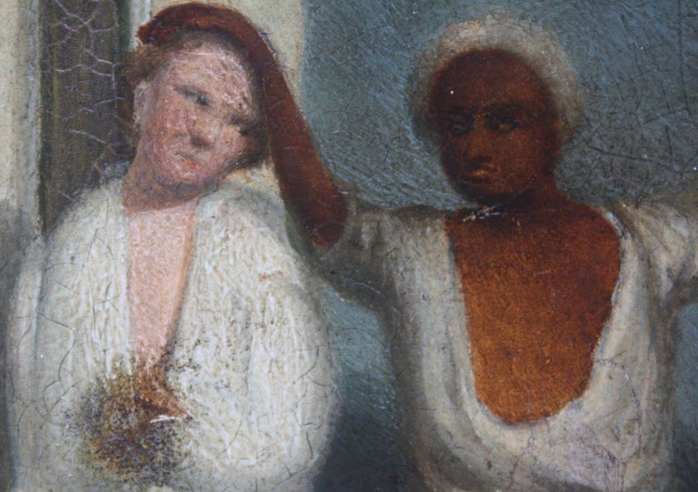 Oil on Board of a Mauritius Slave & His Family Folk Art, circa 1820 For Sale 1