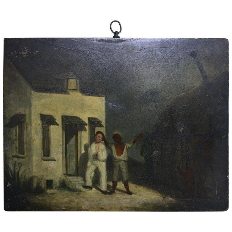 Oil on Board of a Mauritius Slave & His Family Folk Art, circa 1820 For Sale
