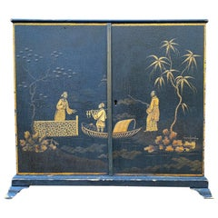 English Black Chinoiserie Two-Door Regency Box, circa 1820s