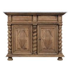 Renaissance Style Wood Bleached Buffet, circa 1830s