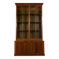 English Regency Style Mahogany Finish Two Doors Bookcase, circa 1840