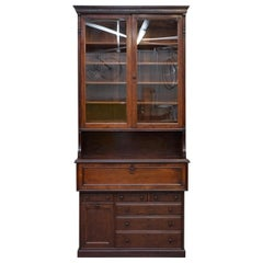 Lambs of Manchester Library Bookcase Secretaire Desk with Ice Bucket circa 1840