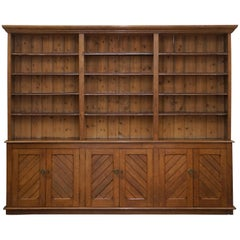 Solid English Oak Library Bookcase Gothic Pugin Style, circa 1840
