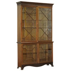 Solid Mahogany Astral Water Glazed Victorian Library Bookcase, circa 1840