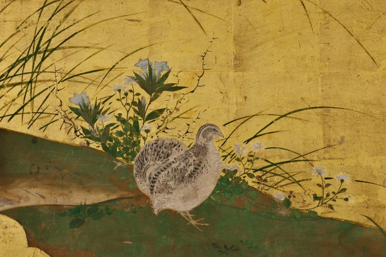 Quail and autumn flowers