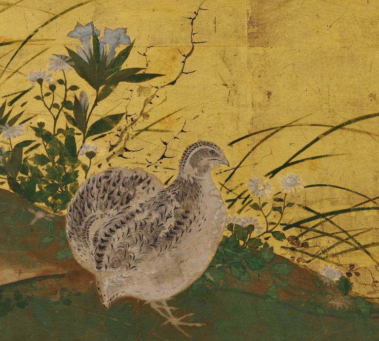 Japanese Framed Panels, Quail and Autumn Flowers, Kano School, circa 1850 In Fair Condition For Sale In Kyoto, JP