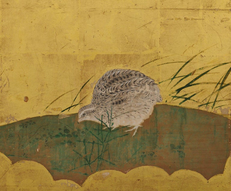 Japanese Framed Panels, Quail and Autumn Flowers, Kano School, circa 1850 For Sale 1