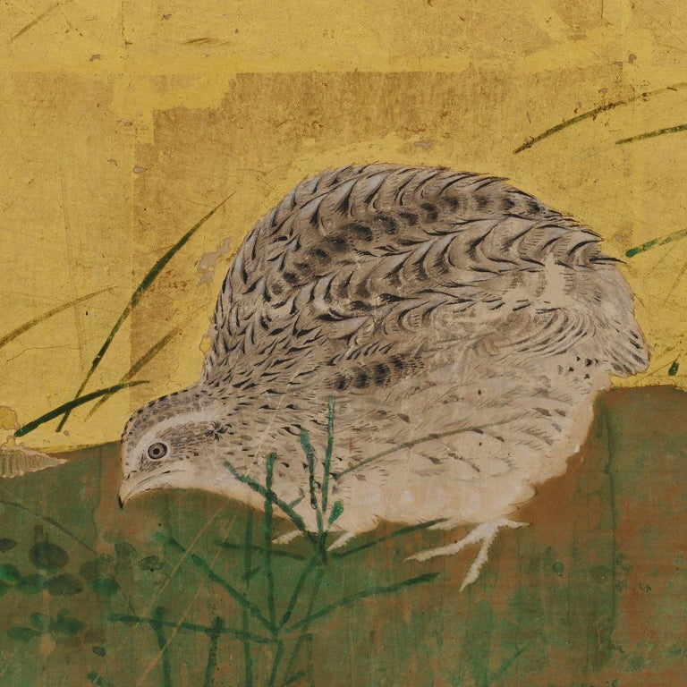 Japanese Framed Panels, Quail and Autumn Flowers, Kano School, circa 1850 For Sale 2
