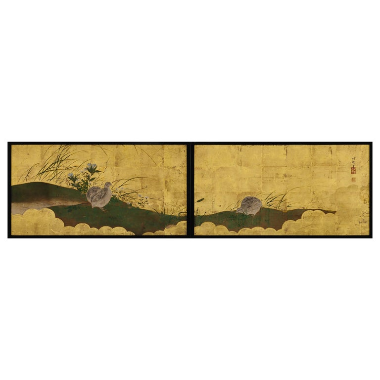 Japanese Framed Panels, Quail and Autumn Flowers, Kano School, circa 1850 For Sale