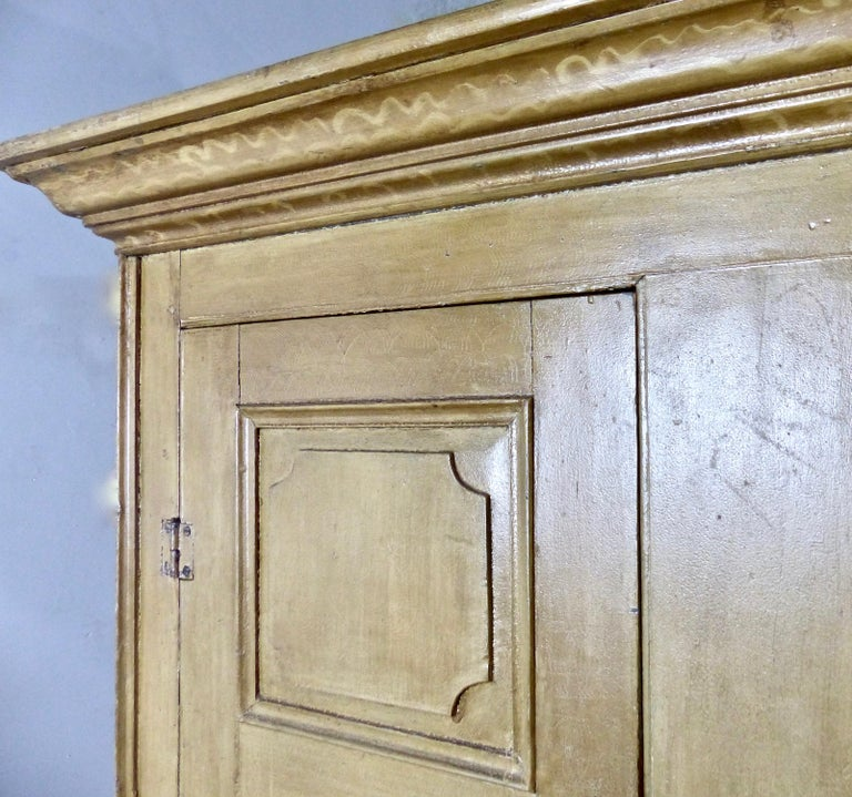 Painted Quebec Pine Canadian Armoire Cabinet, circa 1850 1