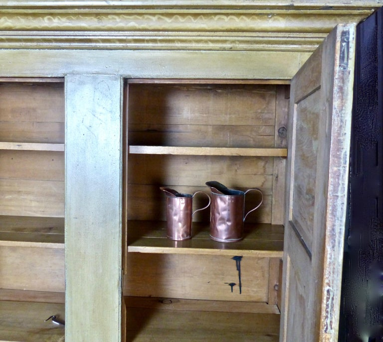 Painted Quebec Pine Canadian Armoire Cabinet, circa 1850 2
