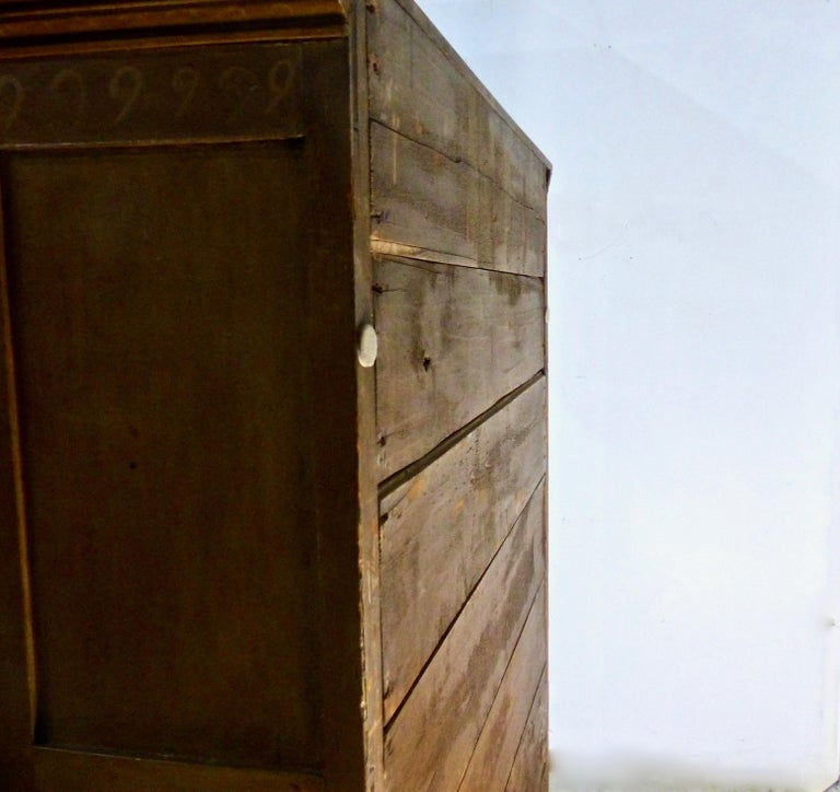 Painted Quebec Pine Canadian Armoire Cabinet, circa 1850 3