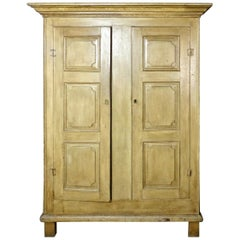 Painted Quebec Pine Canadian Armoire Cabinet, circa 1850