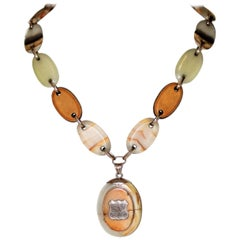 Circa 1850s Victorian Agate Necklace With Locket
