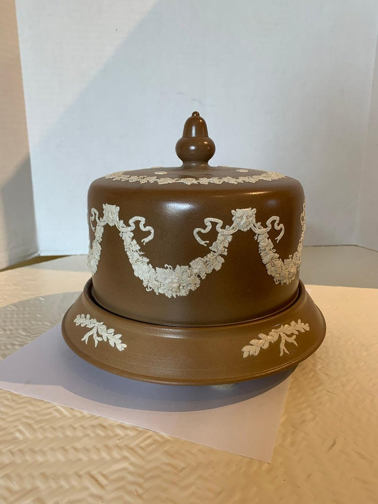 19th century circa 1860 English brown and white Jasperware cheese dome by Dudson Stilton in the style of Wedgwood.