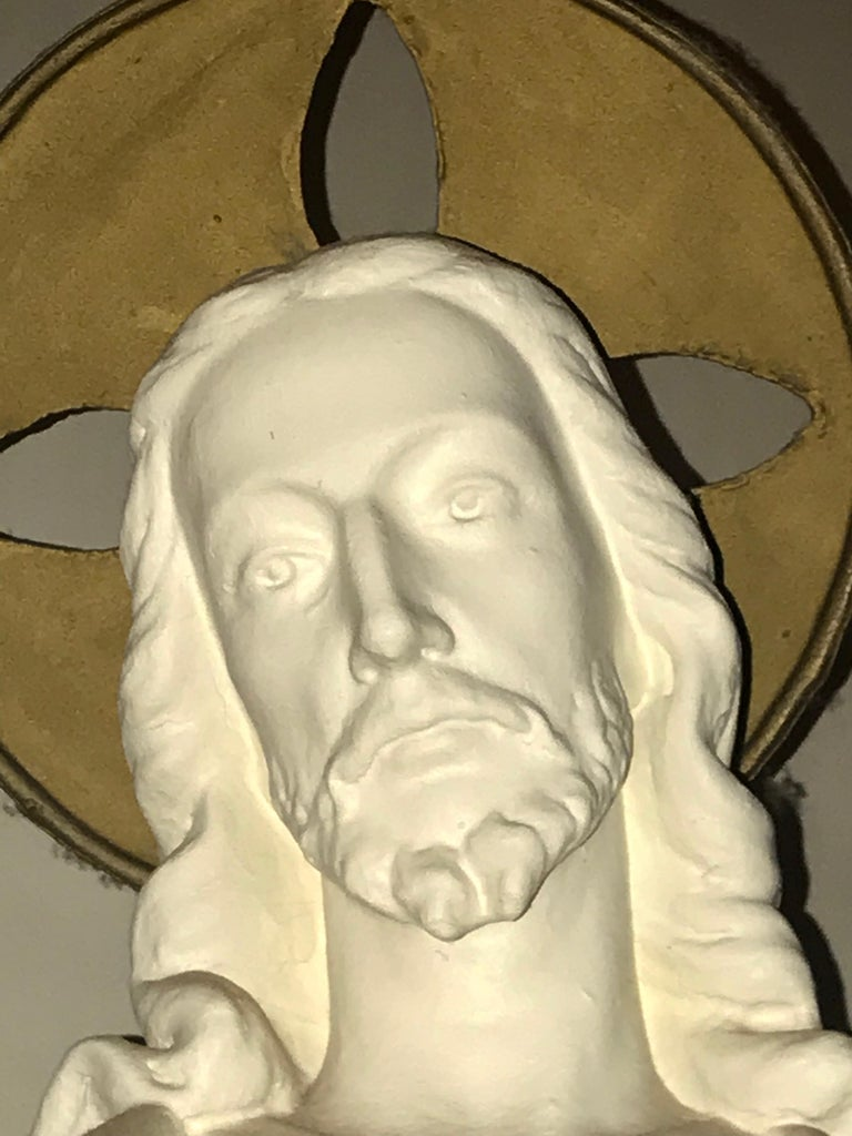Belgian Carved Stone Baroque Revival Statue of Jesus, circa 1870 In Good Condition For Sale In Antwerp, BE