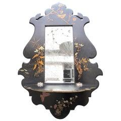 Circa 1870 French Black Chinoiserie  Papier Mâché Wall Bracket Mirror