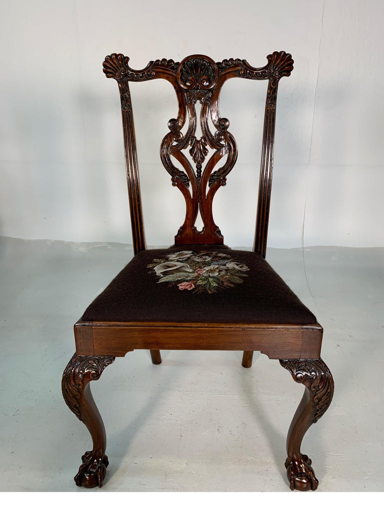Set of Ten Beautifully Hand Carved Mahogany Chippendale Style Chairs, circa 1870 For Sale 5