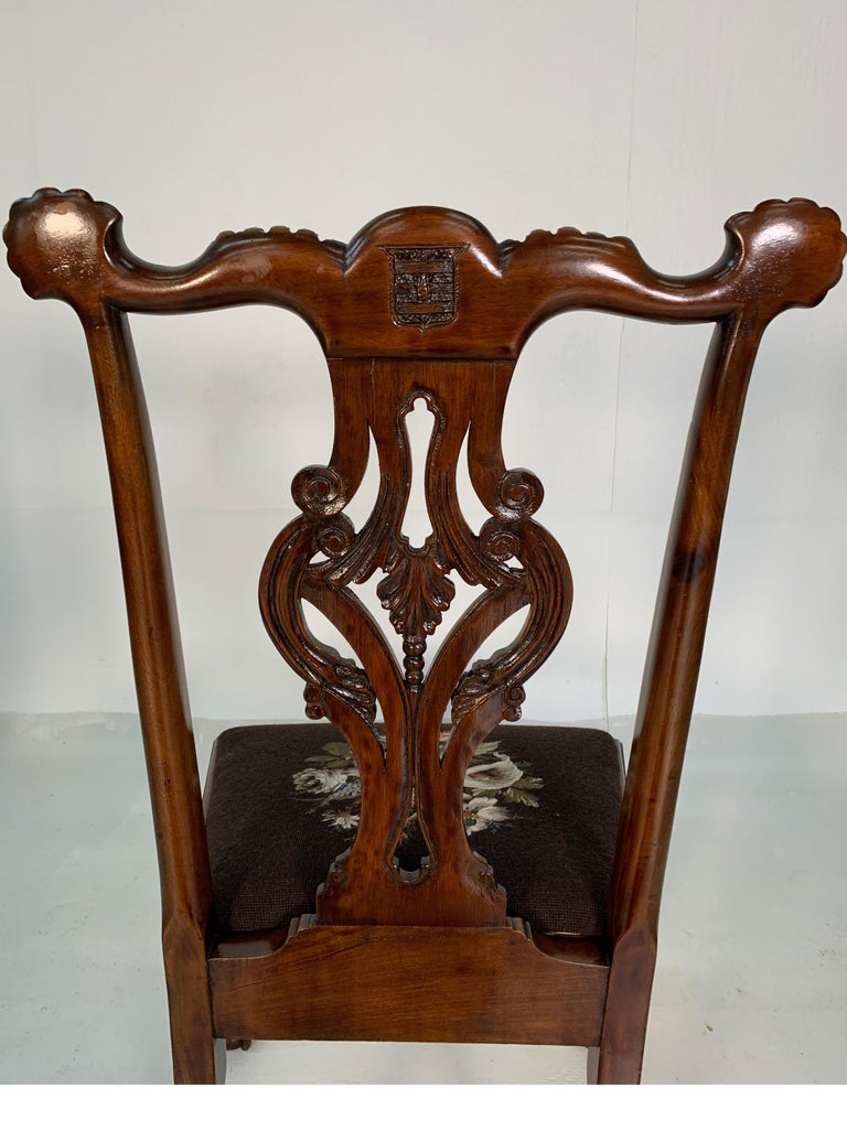Set of Ten Beautifully Hand Carved Mahogany Chippendale Style Chairs, circa 1870 For Sale 8