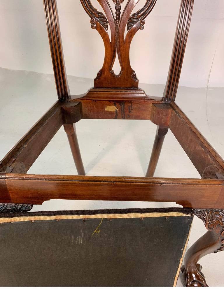 Set of Ten Beautifully Hand Carved Mahogany Chippendale Style Chairs, circa 1870 For Sale 9