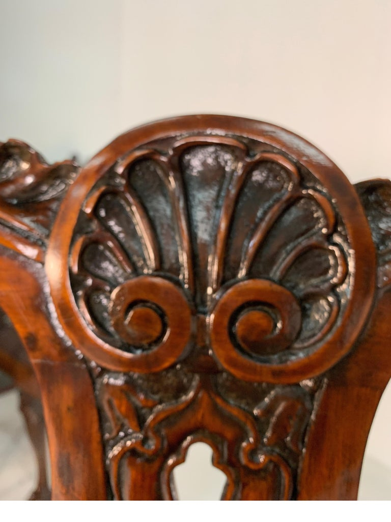 Set of Ten Beautifully Hand Carved Mahogany Chippendale Style Chairs, circa 1870 For Sale 14