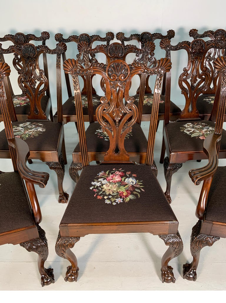 American Set of Ten Beautifully Hand Carved Mahogany Chippendale Style Chairs, circa 1870 For Sale