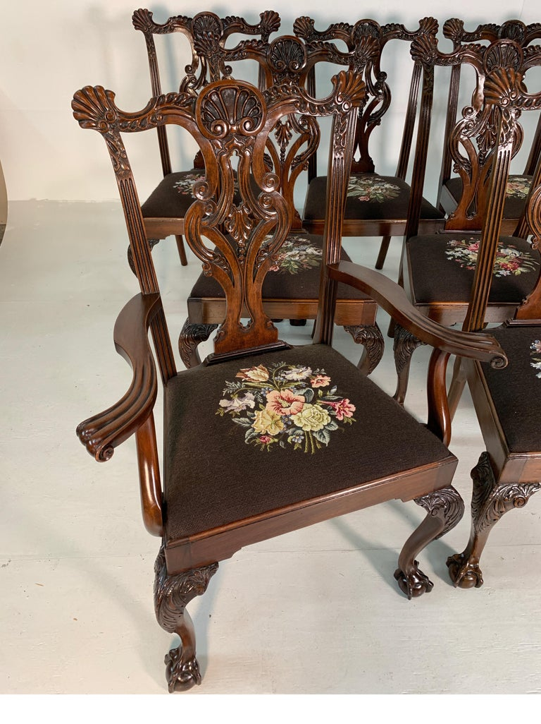 Set of Ten Beautifully Hand Carved Mahogany Chippendale Style Chairs, circa 1870 In Good Condition For Sale In Lambertville, NJ